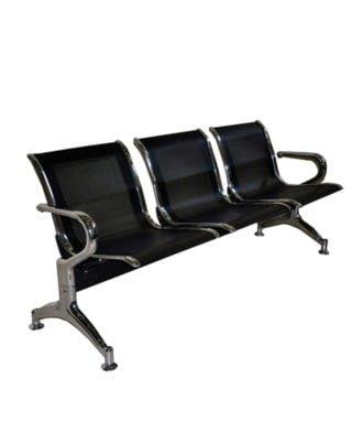 Tandem metalico 3 asientos en chapa perforada color negro mate
