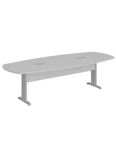 LEXUS. Mesa de reuniones forma de bote, patas metalicas de 270×110 con 2 caja