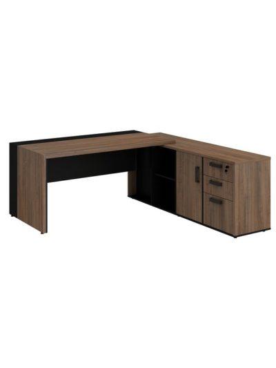PRIUS. Escritorio Director con mesa lateral de 180×180 y caja electrica
